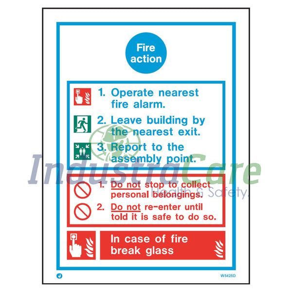 Jalite Fire Action Notice White Rigid PVC Safety Sign (W5425D)
