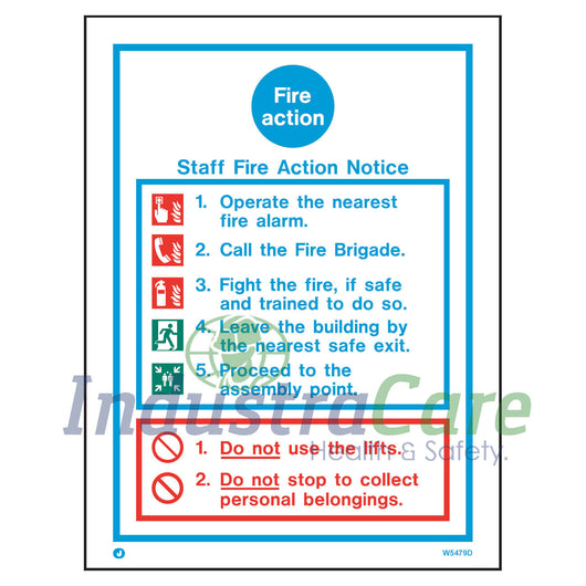 Jalite Staff Fire Action Notice White Rigid PVC Safety Sign (W5479D)