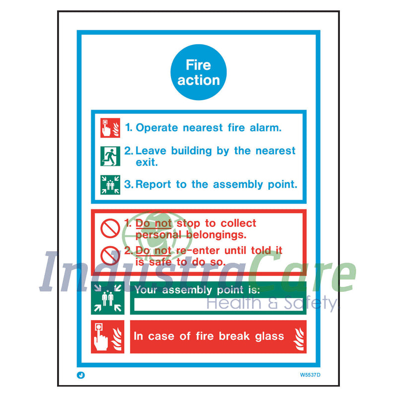 Jalite Fire Action Notice White Rigid PVC Safety Sign (W5537D)