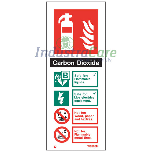 Jalite CO2 Fire Extinguisher White Rigid PVC Safety Sign