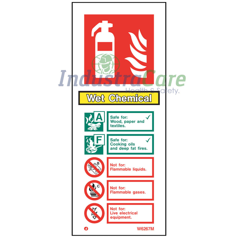 Jalite Wet Chemical Fire Extinguisher White Rigid PVC Safety Sign