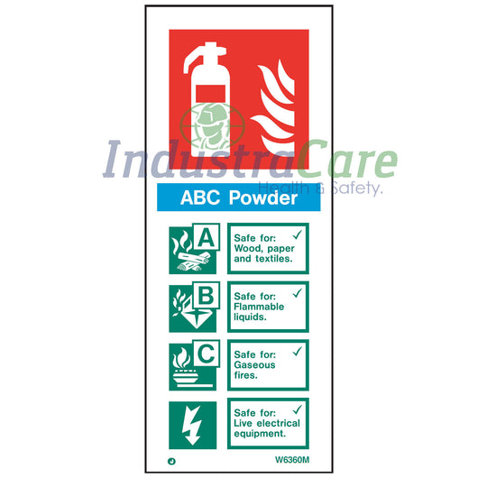 Jalite ABC Powder Fire Extinguisher White RPVC Sign (W6360M)