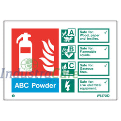 Jalite Fire Extinguisher ABC Powder White Rigid PVC Safety Sign (W6370ID)