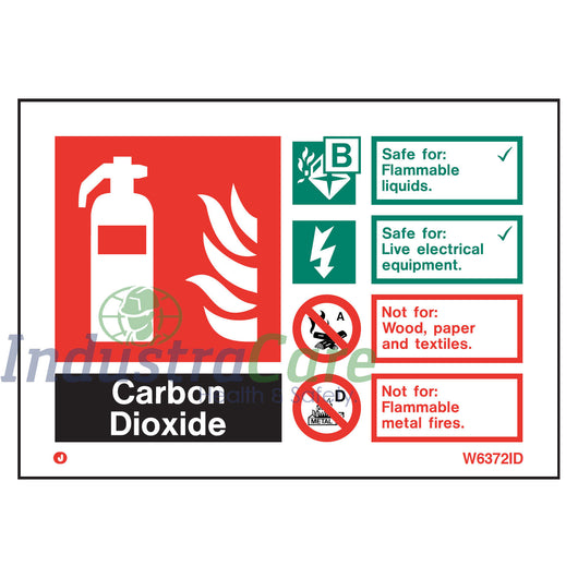 Jalite Fire Extinguisher CO2 White Rigid PVC Safety Sign (W6372ID)