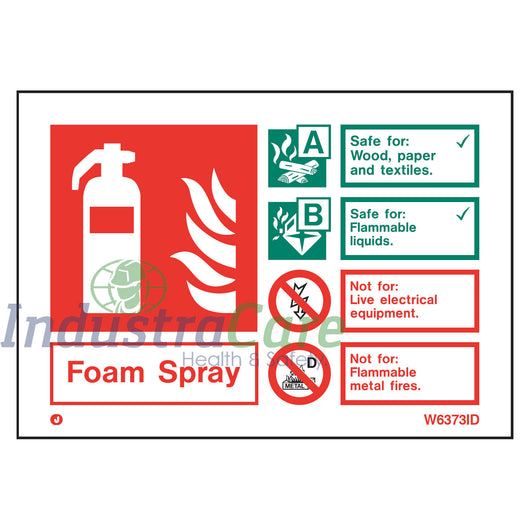 Jalite Fire Extinguisher Foam Spray White Rigid PVC Safety Sign