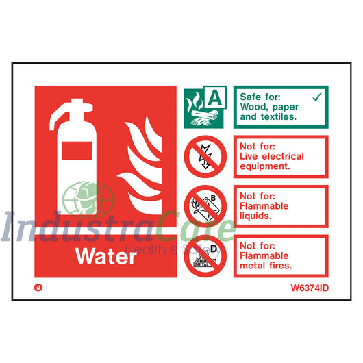 Jalite Fire Extinguisher Water White Rigid PVC Safety Sign