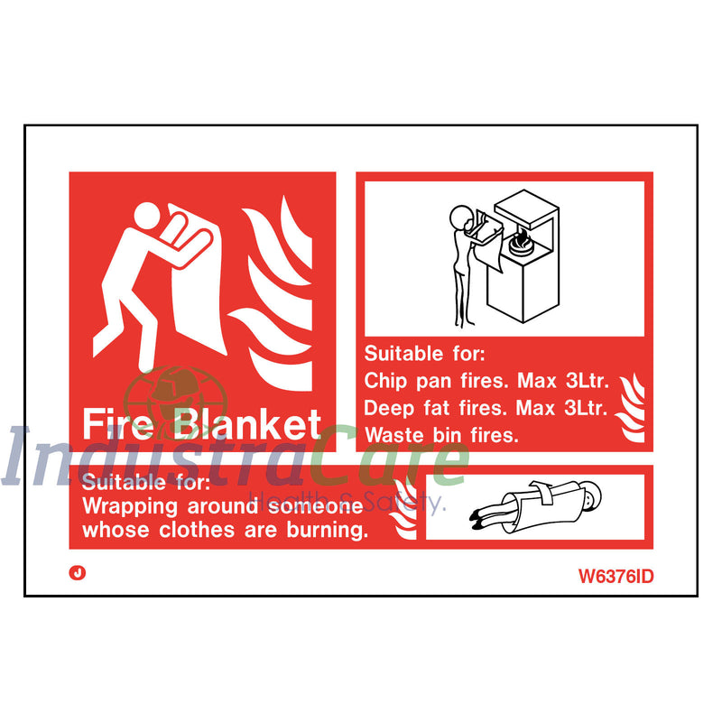 Jalite Fire Blanket White Rigid PVC Safety Sign (W6376ID)