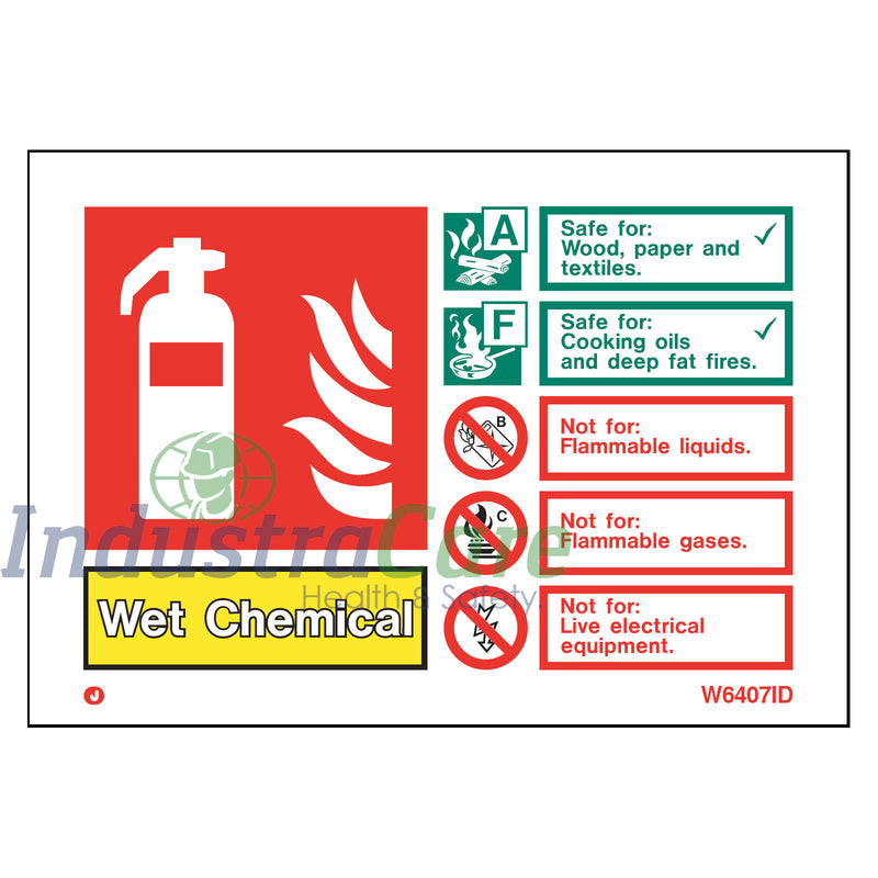 Jalite Fire Extinguisher Wet Chemical White Rigid PVC Safety Sign