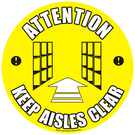 PROline Floor Sign: Attention Keep Aisles Clear