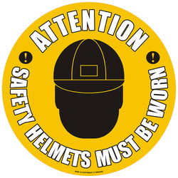 PROline Floor Sign: Attention Safety Helmets Must Be Worn