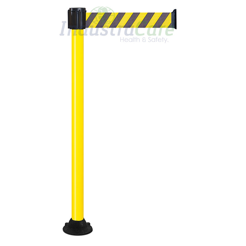 Traffic-Line Belt Post - Yellow Post with Black/Yellow Striped Belt