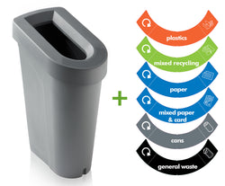 UK uBin Eco Friendly Office Recycle Bin and Lid - Grey