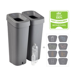 uBin Mini Eco Friendly Office Recycle Bin and Lid - Grey