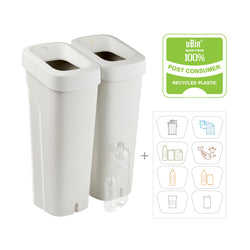 uBin Mini Eco Friendly Office Recycle Bin and Lid - White