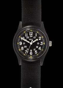 MWC Classic 1960s/70s Pattern Matte Black Vietnam Watch on Matching Webbing Strap
