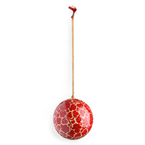 4 Papier Mache Balls : Assorted Designs in Red