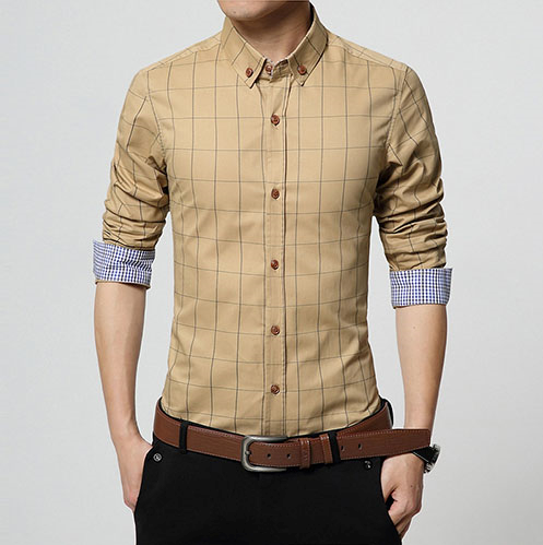 Casual men's shirt (khaki).