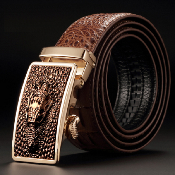 Leather belt with dragon (coffee).