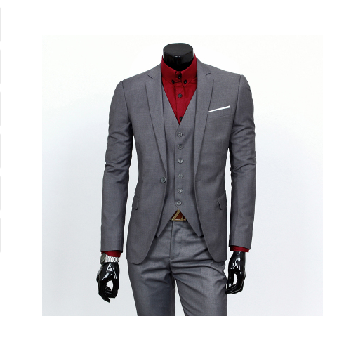 Men's suit for business suit jacket, vest, pants (dark grey).