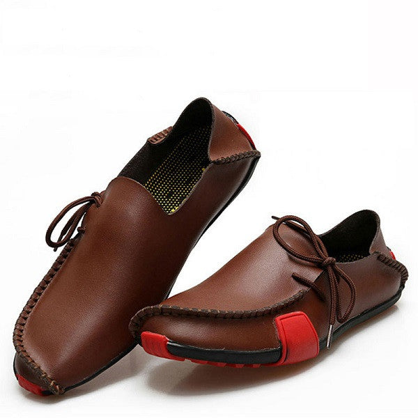 Leather shoes - loafers. (BROWN)
