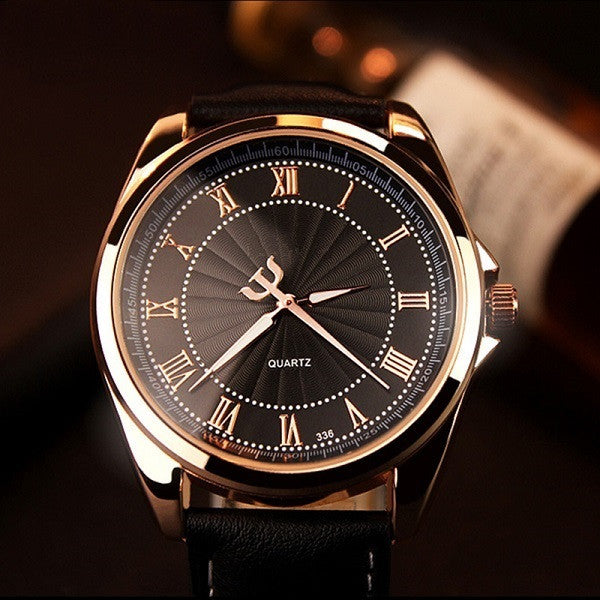 Men's business luxury quartz watches rose gold (black black).