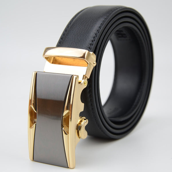 Leather belt with metal (yellow)