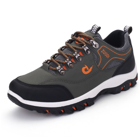 Leather men's lace-up shoes for sports and walking (GRAY)