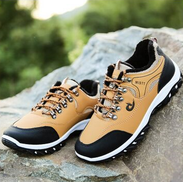Leather men's lace-up shoes for sports and walking (YELLOW m)