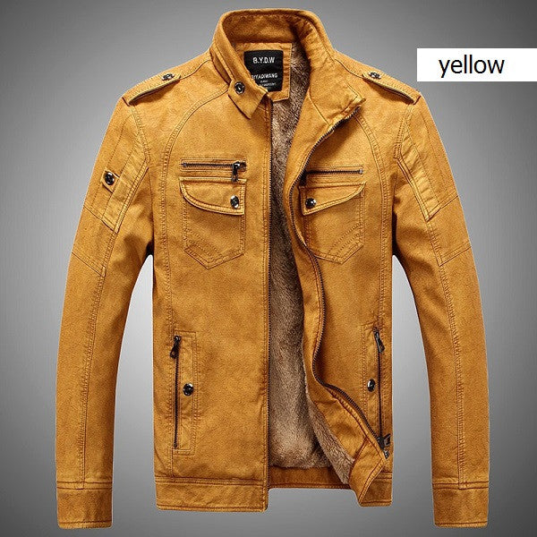 Men's leather jacket (yellow).