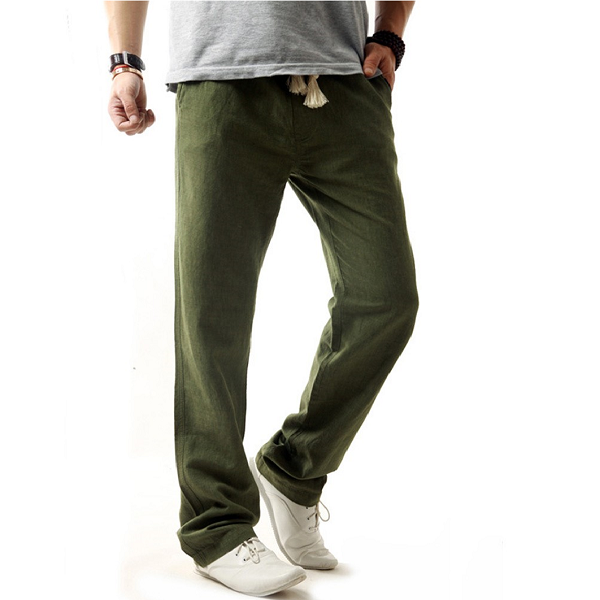 Men's straight pants from natural materials (green).