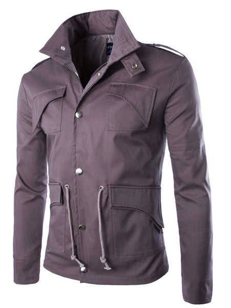 Men's jacket British style zipper  ( RED LIGHT GRAY).