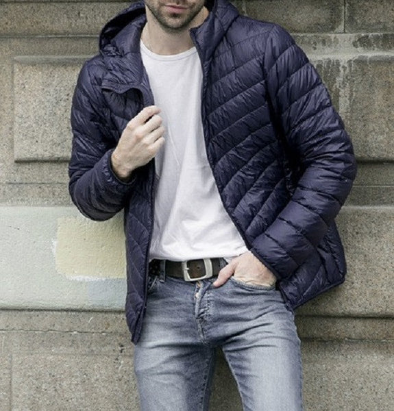 Lightweight mens jacket with duck down (navy blue).