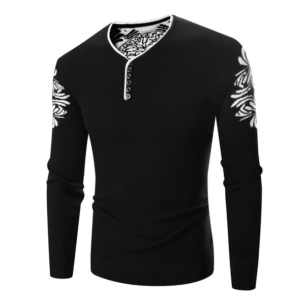 Men's knitted sweater with long sleeves (black).