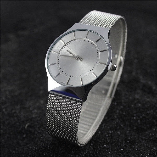 Luxury quartz men's watch in a slim metal body (white).