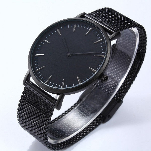 Elegant men's quartz watch the ultra-thin case for everyday us life (black-black).