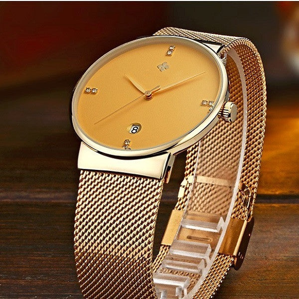 Elegant mens quartz watch in ultrathin body (gold).
