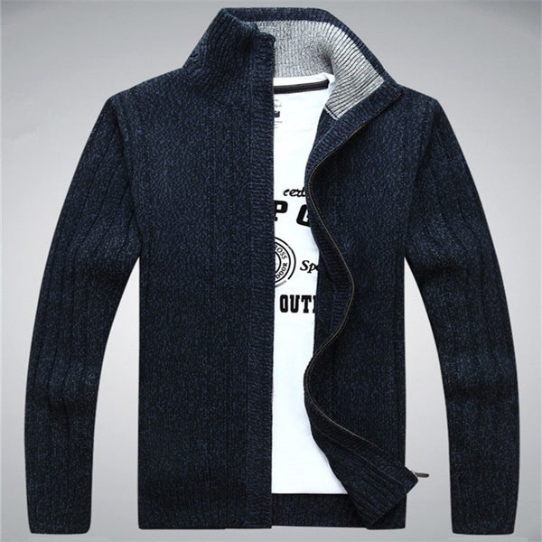 Men's cardigan (navy blue).