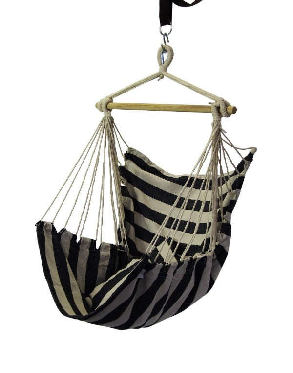 Finery - Hammock Scoop Chair - Black/White Stripe