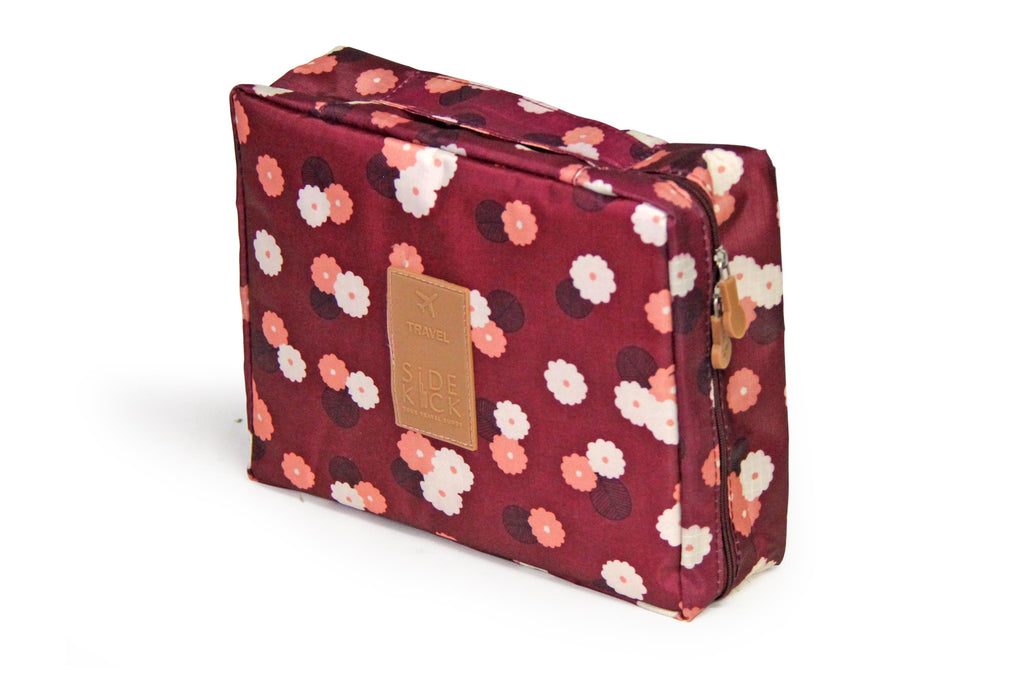 SideKick Cosmetic Case - Maroon Floral