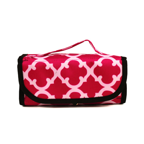 Cosmetic Roll-up - Pink Geometric