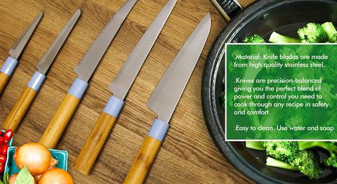 Knife Set Bamboo 5pc