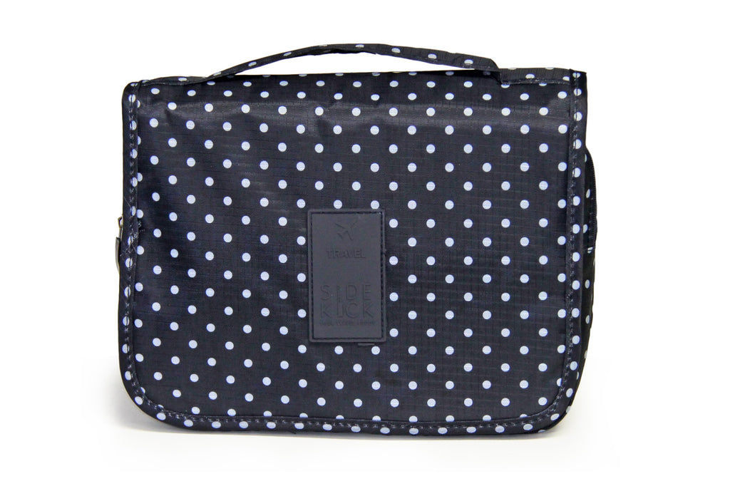 SideKick Hanging Toiletry Bag - Navy Polka Dot