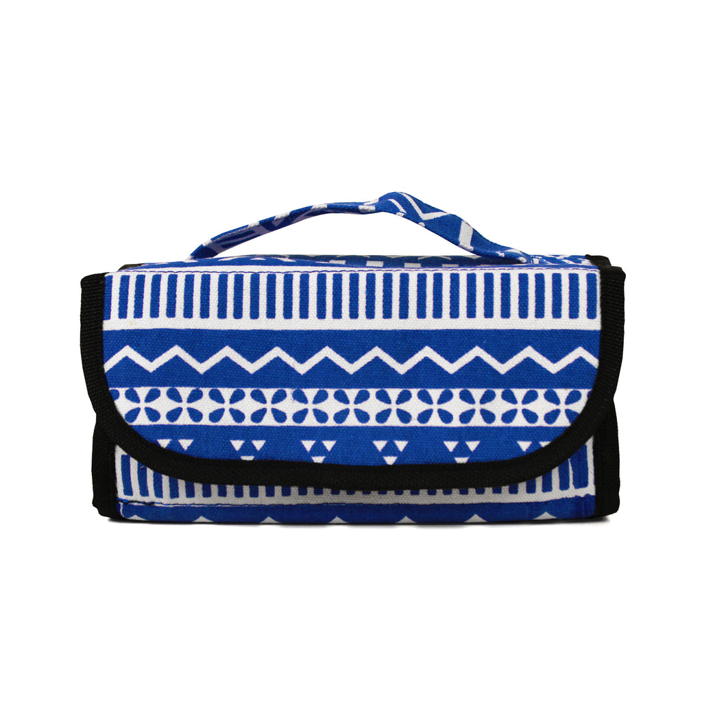 Cosmetic Roll-up- Blue Aztec