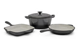Fine Living - 4pc Cast Iron Set - Grey