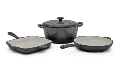 Fine Living - 4pc Cast Iron Set - Grey <p> <b> Hurry - only  10 left! </b>