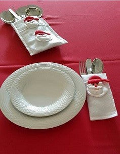Cutlery Pouch Set – Christmas Table Setting Decor – White With Santa Face