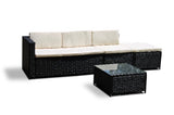 Rattan Livorno L-Shape - Black - Cream Cushions