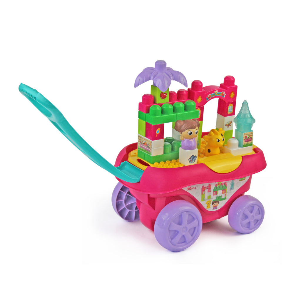 Jeronimo Pull-Along Blocks - Pink 30pc