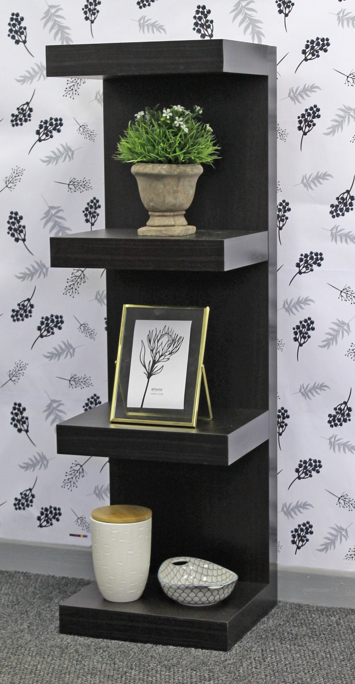 Juno Shelves - Piller - 4 shelf - Black Wood Grain