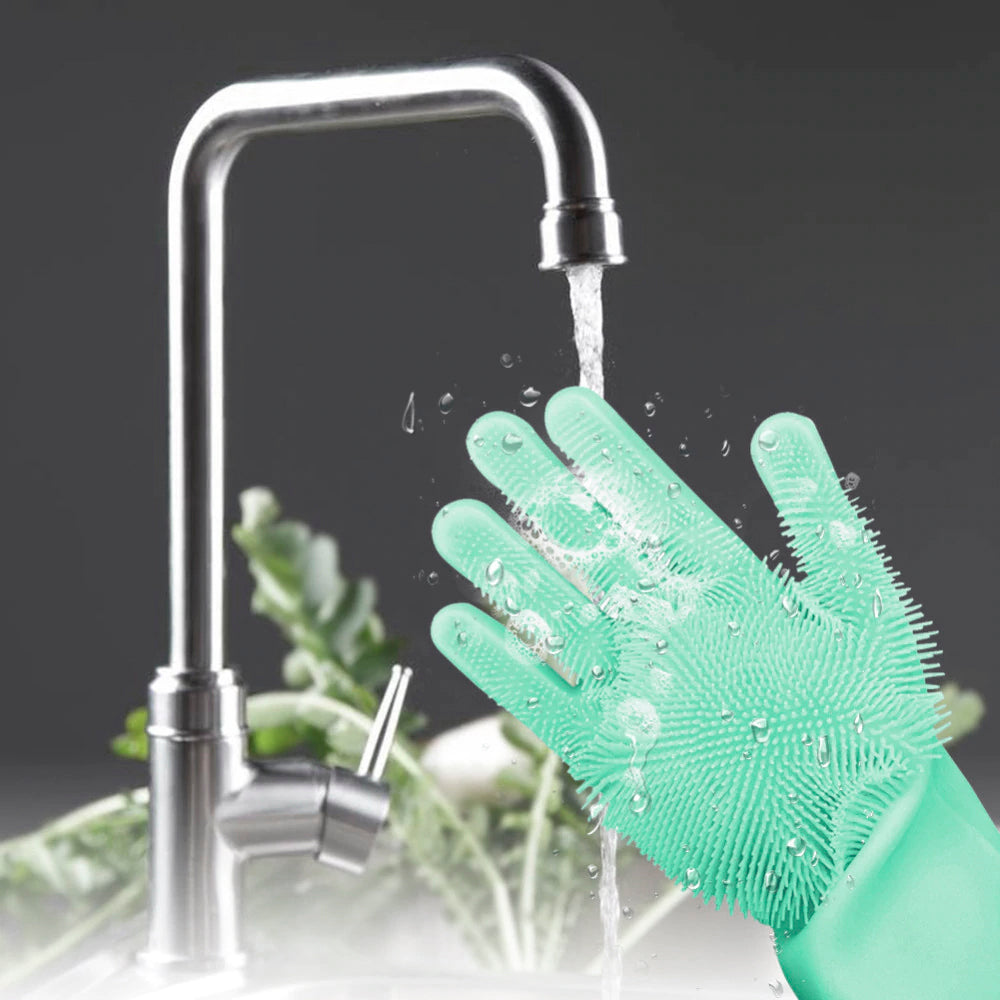 Silicone Kitchen Gloves - Green